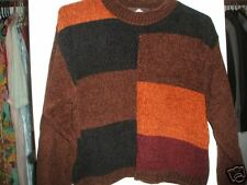 Fall Colors COLORBLOCK Crop CHENILLE SWEATER - S or M
