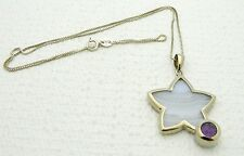 VTG WHITNEY KELLY .925 Silver Blue Lace Agate & Amethyst Star Necklace