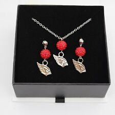 Arizona Cardinals Jewelry Shamballa Bead Crystal Necklace and Earrings Set