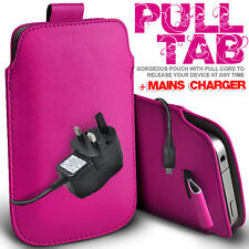 LEATHER PULL TAB POUCH CASE COVER &  MAINS CHARGER FOR VARIOUS MOBILEPHONES