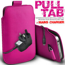 LEATHER PULL TAB POUCH CASE COVER & MAINS CHARGER FOR VARIOUS BLACKBERRY MOBILE