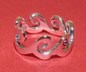 Solid Sterling Silver Waves Band Ring.