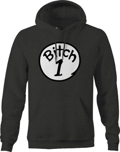 Thing 1 and Thing 2 Bitch 1 Hoodies for Men Dark Gray