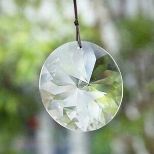 45Mm Round Clear Crystal Prism Flower Suncatcher Pendants DIY Home Hanging A1H5