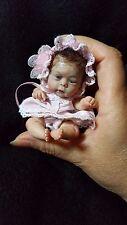 OOAK polymer clay, Art Doll, baby girl, 4'', glass eyes