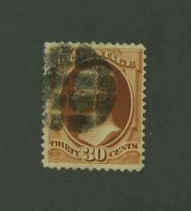 US 1888 30c Hamilton Scott 217 used with cork grid cancel, Value = $90.00
