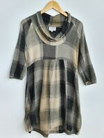 The Masai Dress M Beige Grey Lightweight 3/4 Sleeve Cowl Neck Smock Lagenlook