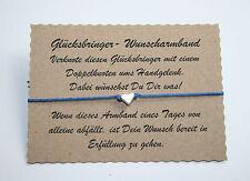 Wunscharmband make a wish Armband Freundschaft Liebe Glücksbringer Herz Blau