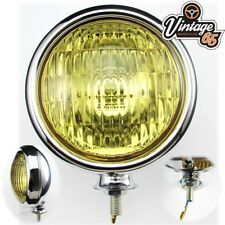 Classic Car Vintage Style Stainless Steel Chrome Amber Foglight Fog Lamp 12v