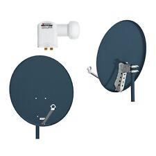 SAT Anlage 2-Teilnehmer 80cm Spiegel Premium LNB 0,1dB  4K UHD HD+ SKY Anthrazit