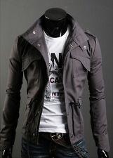 Men Jacket Slim Zip Military Suit Tops Coat Casual  Outerwear Button Clothing M