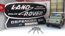 Land Rover Defender 90 patrimoine Ltd Edition fonte d'aluminium grill badge baignoire OEM