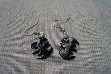 Batman emblem mark Black Earrings Jewellery PolymerClay Handmade