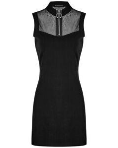 Punk Rave Gótico Mini Vestido de Mujer Negro Oscuro Punk Verano Piercing Anillo