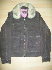 ROXY BROWN CORD USED WOMENS LARGE SIZE JACKET - WITH DETATCHABLE FUR COLLAR