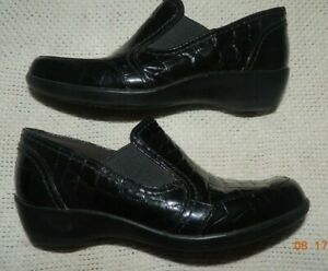 Clarks Bendables Black Patent Moc Croc Slip On May Poppy Shoes Women 6 M Nice!