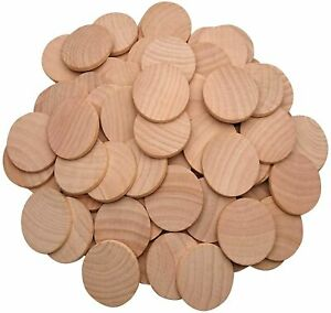 100Pcs Wood Slices Unfinished Round Discs DIY Wooden Circles 30mm/1.18inch