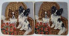 Papillon Dogs Set Of Two 10� Needlepoint Pillowcases Velveteen Back Zipper Cute