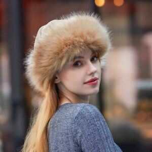 Women Russian Fluffy Faux Fox Fur Hat Men Headband Winter Earwarmer Ski Hats Cap