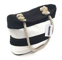 Black Striped Canvas Beach Bag Tote Soft Rope Handles inner pocket