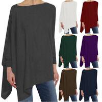 Women's Solid Long Sleeve Irregular Sweatshirt Loose Print Pullover Tops Blouse
