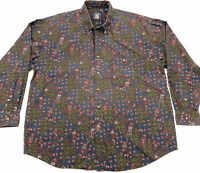vintage 90s GANT Salty Dog Paisley Long Sleeve Button Front Shirt LARGE dad