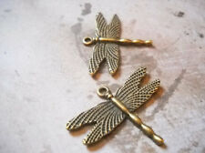 10 Dragonfly Charms Antiqued Bronze Dragonfly Pendants Steampunk Supplies
