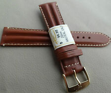 France Tan Padded Water Resistant Leather 20mm Watch Band Gold Tone Buckle $34