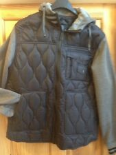 mens black/grey padded jacket -used once-xl -light warm stylish- hood-excellent