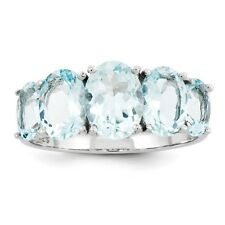 STERLING SILVER GENUINE NATURAL 3.4 CT 5-STONE BLUE AQUAMARINE RING - SIZE 8