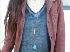 1pcs 3 Layers Women Gold Feather Turquoise Beads Pendants Necklaces Chain Choker