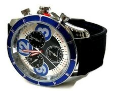 Men's Fashion Watch MC43833, Black Silicone Band Silver and Blue Case