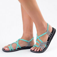 Womens Ladies Summer Comfort Sandals Low Flat Wedge Peep Toe Beach Shoes Size