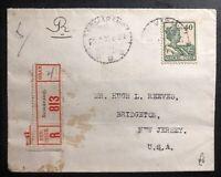 1930 Semarang Netherlands Indies Registered cover to Bridgeton NJ USA