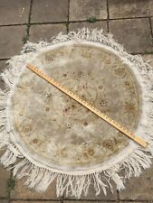 "PRELOVED FRINGED TRADITIONAL ROUND SILK PILE AREA RUG / CARPET  36"" + FRINGING"