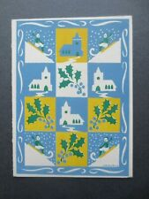 Vintage CHRISTMAS Card MEDICI  S Arrobus Design Toboganning Churches and Holly