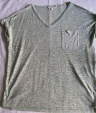 Next Burnout Top green space dye linen blend short sleeve v neck Size 14 vgc