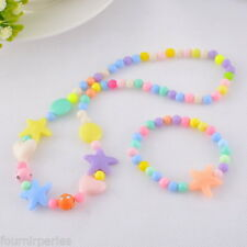 1 Set Perles Multicolore Pr Enfant Bracelet Collier élastique DIY FP