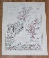 1906 ANTIQUE MAP OF SHETLAND ORKNEY ISLANDS / HEBRIDES WESTERN ISLES SCOTLAND
