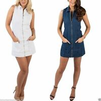 New Women Denim Sleeveless Front Zip Pockets Shirt Collar Mini Short Dress 6-14