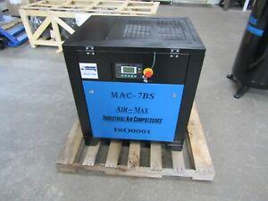 Air-Max MAC-7BSVSD2 7.5hp. 1 ph. Rotary Screw Air Compressor  12 Year Warranty