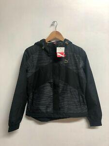 Puma Women's Windbreaker Jacket Pattern Clash Full Zip Jacket - Black - New