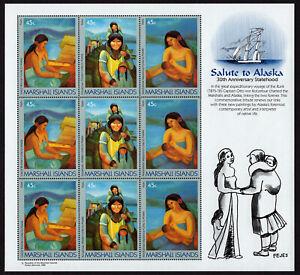 MARSHALL ISLANDS, SCOTT # 213-215, COMPLETE SHEET OF LINKS & SALUTE TO ALASKA