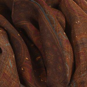 NWOT #1 MENSWEAR Cigar Brown Gauze Wool Silk Muted Paisley Teal Trim Scarf NR #7