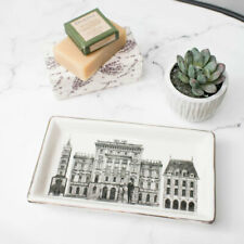 Ceramic Monochrome Buildings Trinket Tray dish vintage home decor jewellery