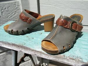 Pikolinos Gray Leather Buckle Strap Mule Clog Sandal Women's EU 39 US 8.5 - 9