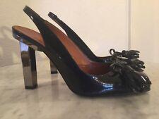 LANVIN Navy Blue Patent Leather Tassel Front Square Metal Heel Shoes Wm Sz 40 M