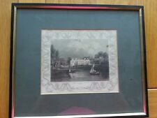 ANTIQUE PRINT C1800'S LADY PLACE HURLEY BERKS ENGRAVING ETCHING FRAMED ART