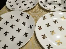 ROYAL Crested Crest Fleur-De-Lys Set Of 4 White Milk/Glass Plates Estate*