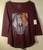 Lucky Brand NWT Screen Print Women's 3/4 Sleeve Burgundy T-Shirt Size XXL